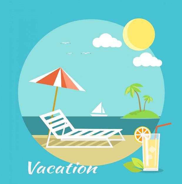 Bagagem de passageiros no apartamento. férias na praia Vetor Premium