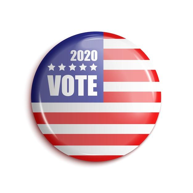 Bage do voto eua 2020. em transparente. Vetor Premium