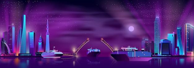 Baía da cidade com fundo de vetor de desenhos animados de ponte levadiça Vetor grátis