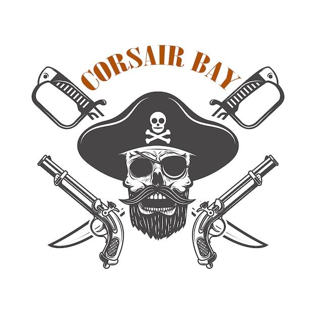 Baía de corsair. emblema com arma e caveira de pirata. elemento para logotipo, etiqueta, sinal. imagem Vetor Premium