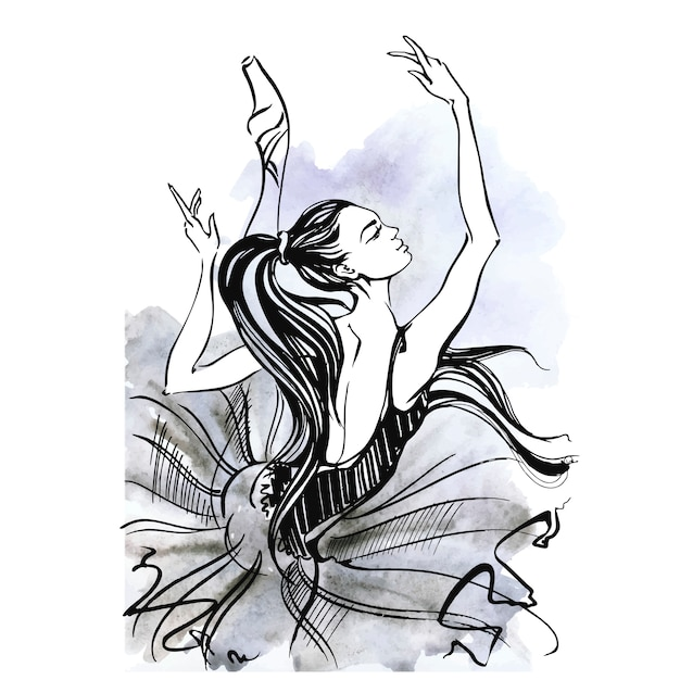 Bailarina. balé garota dançando em sapatos de ponta. aquarela Vetor Premium