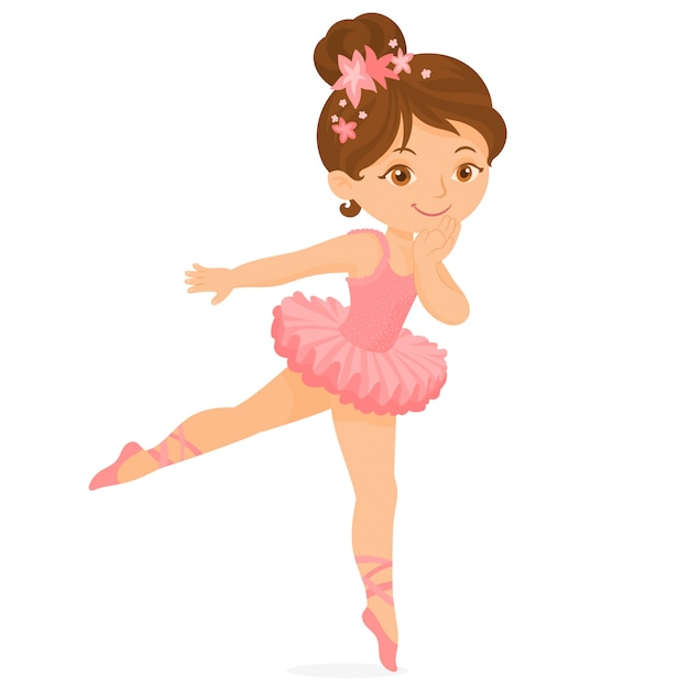 Bailarina bonita no tutu cor-de-rosa Vetor Premium