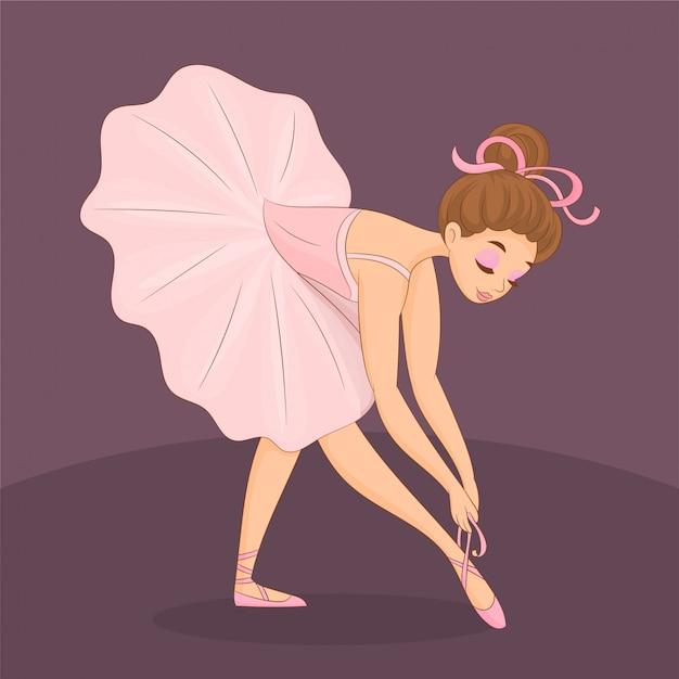 Bailarina bonito amarrando os sapatos dela Vetor Premium