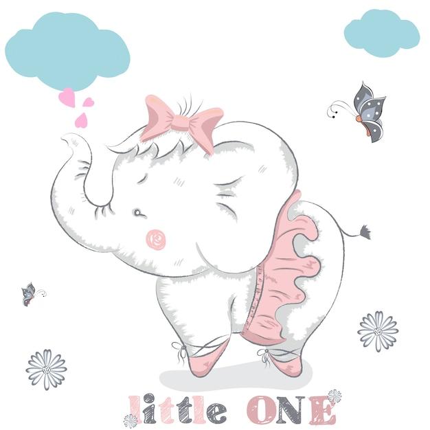 bailarina desenhada mão bonito do elefante dos desenhos animados