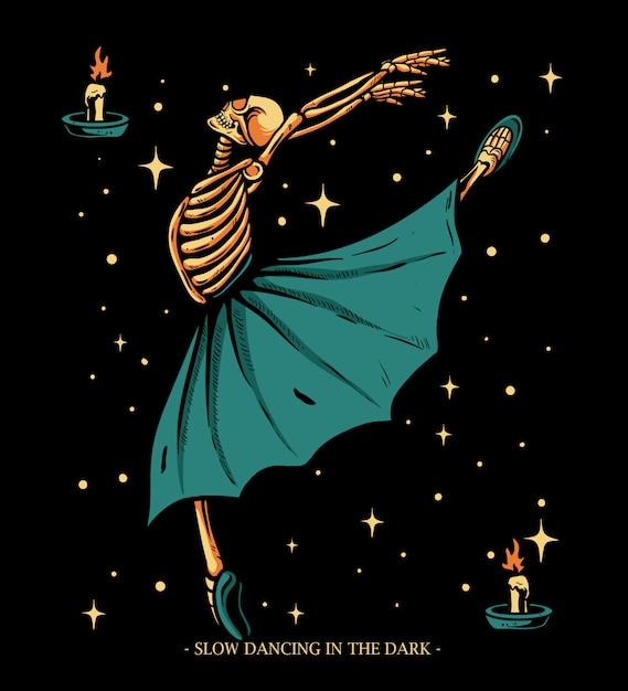 Bailarina esqueleto dançando com ilustração de luz de vela Vetor Premium
