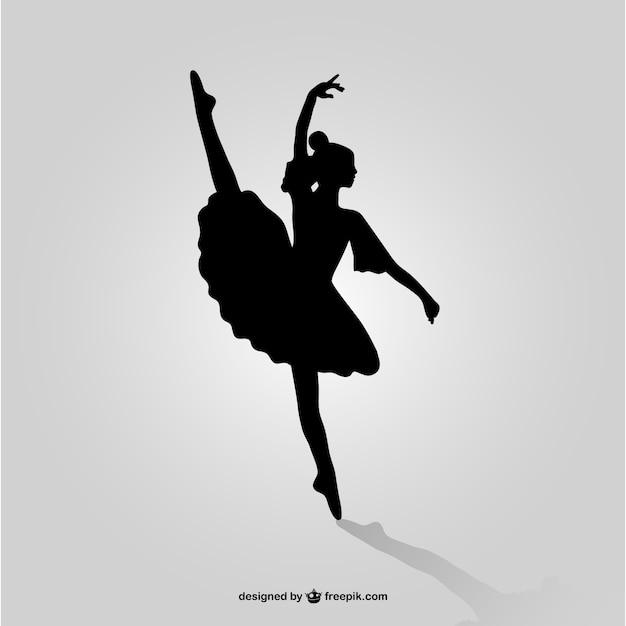 Bailarina silhueta arte Vetor grátis