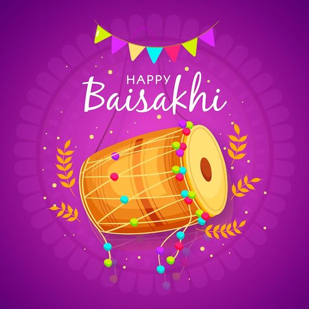 Baisakhi feliz desenhada de mão Vetor grátis