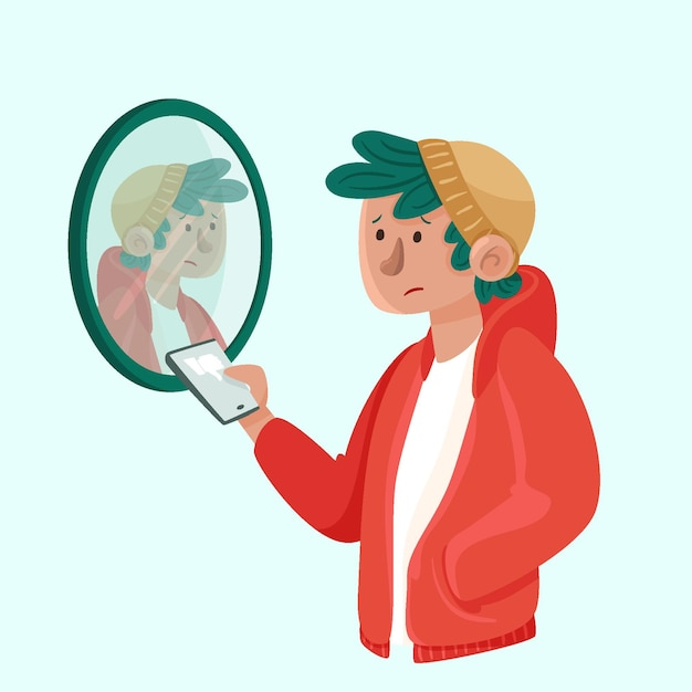 Baixa autoestima com homem e espelho Vetor grátis