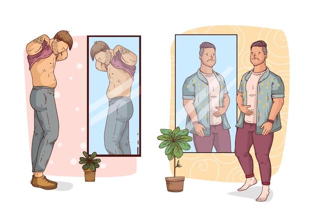 Baixa autoestima com homens e espelho Vetor grátis