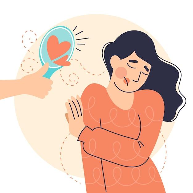 Baixa autoestima com mulher e espelho Vetor Premium
