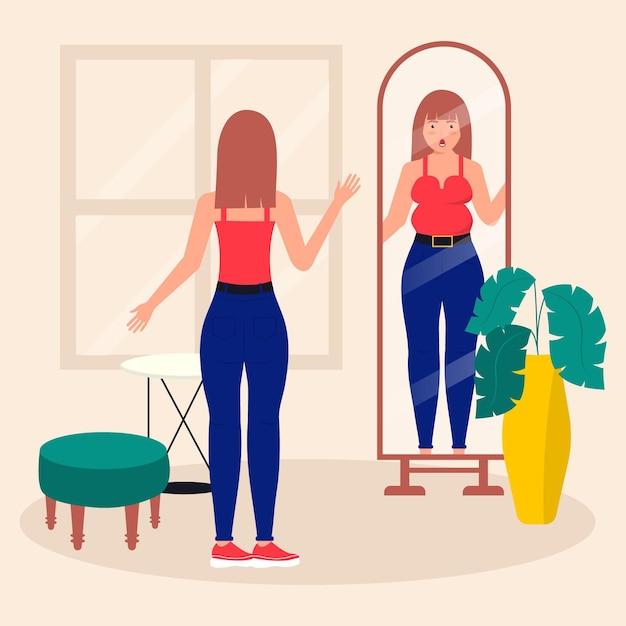 Baixa autoestima com mulher e espelho Vetor grátis