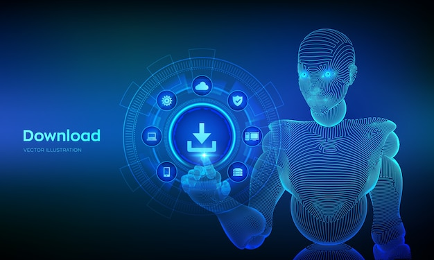 Baixe o armazenamento de dados. download na nuvem. símbolo de instalação. mão de ciborgue tocando a interface digital. Vetor Premium