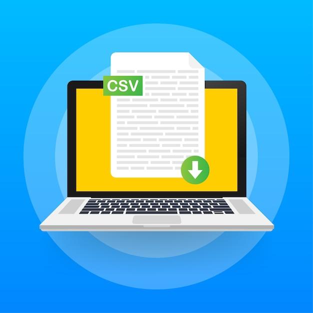 Baixe o botão csv na tela do laptop. baixando o conceito do documento. arquivo com rótulo csv e sinal de seta para baixo. Vetor Premium
