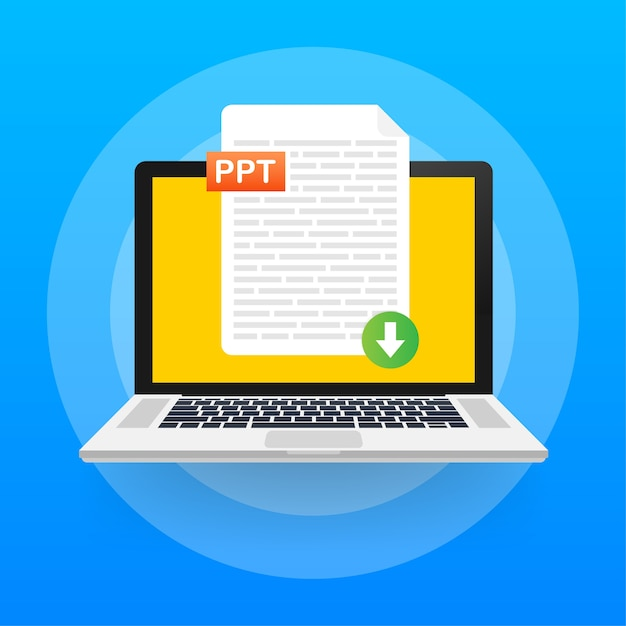 Baixe o botão ppt. baixando o conceito do documento. arquivo com etiqueta ppt e sinal de seta para baixo. Vetor Premium