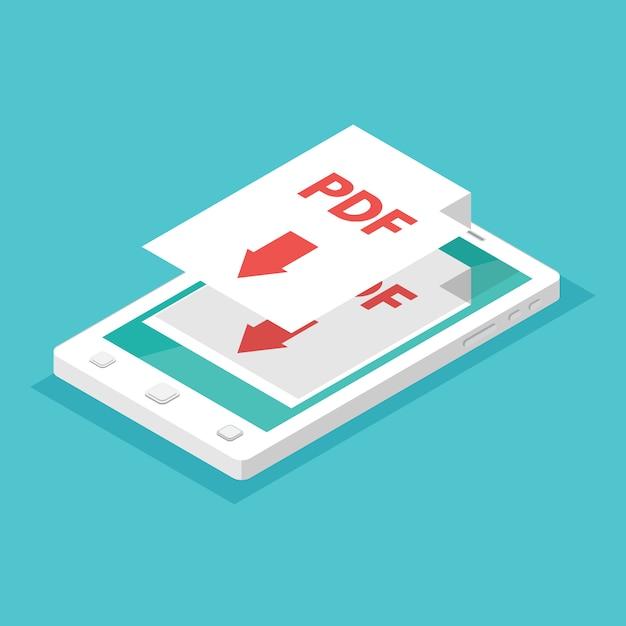 Baixe o conceito de aplicativo. smartphone isométrico. Vetor Premium