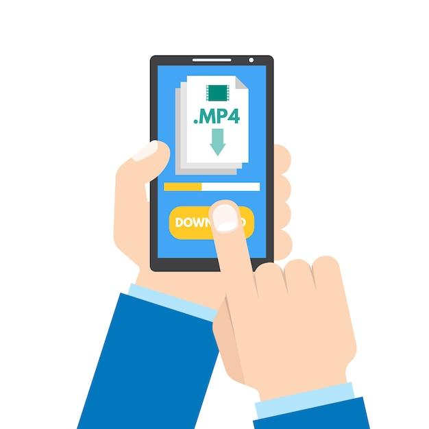Baixe o conceito de aplicativo. smartphone na mão. Vetor Premium