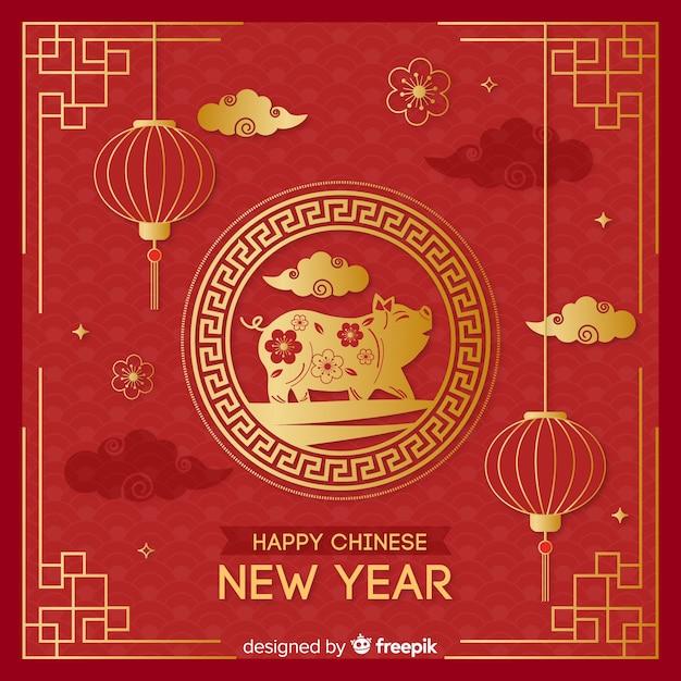 Bakcground de ano novo chinês dourado Vetor Premium