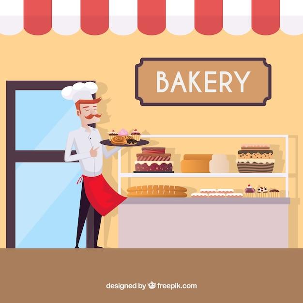 Bakery background in flat style Vetor grátis
