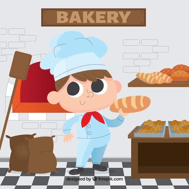 Bakery background with baker in flat style Vetor grátis
