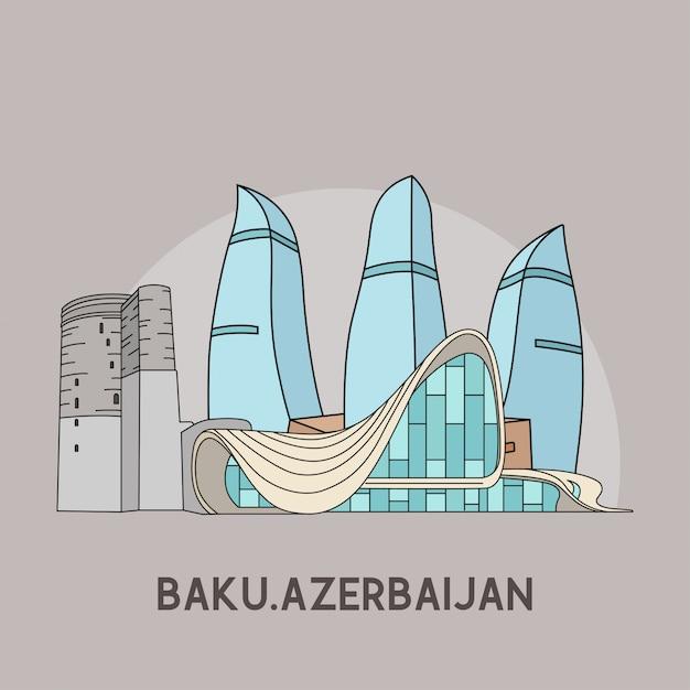 Baku, azerbaijão Vetor Premium