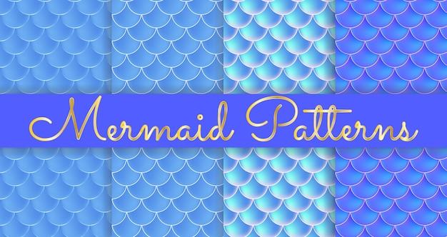 Balanças de sereia. fish squama. conjunto de padrões sem emenda azuis. ilustração colorida. fundo aquarela. impressão em escala. Vetor Premium