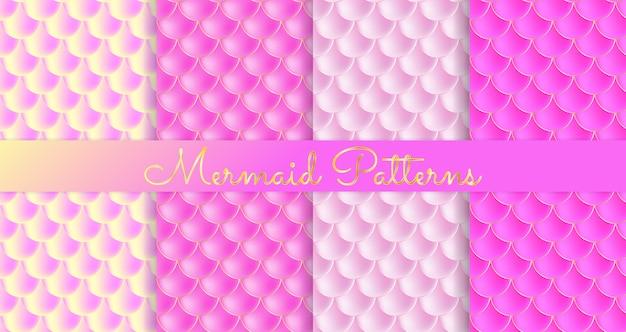 Balanças de sereia. fish squama. padrão sem emenda rosa Vetor Premium