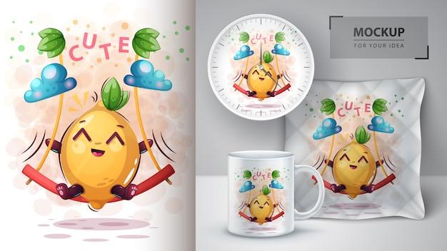 Balanço saúde limão poster e merchandising Vetor Premium