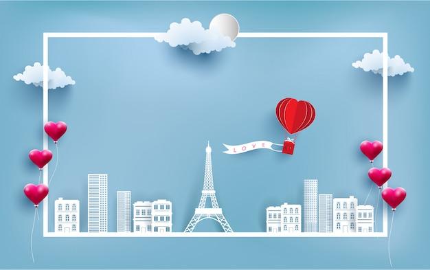 Balão de ar quente carregando banners de amor Vetor Premium