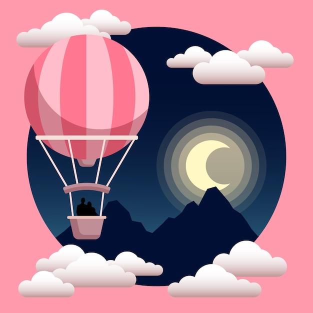 Balão de ar quente com ilustração de silhueta de casal Vetor Premium