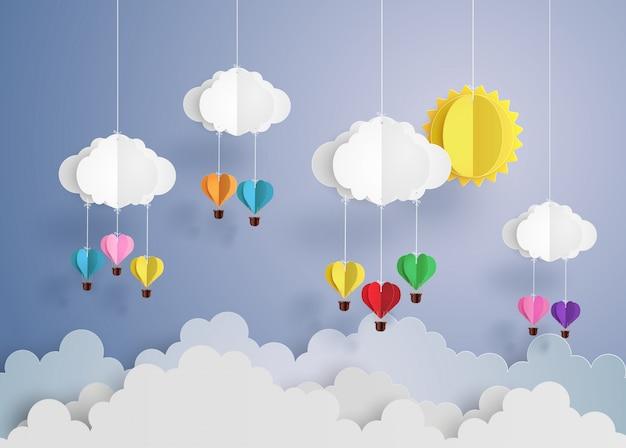 Balão de ar quente em forma de coração. Vetor Premium