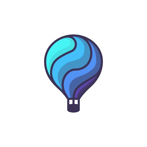 Balão de ar quente. ilustração dos desenhos animados de balão de ar quente Vetor Premium