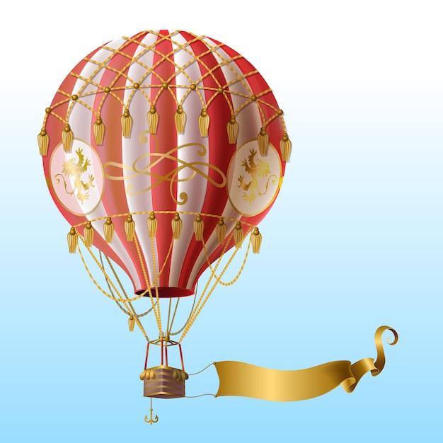 Balão de ar quente realista com decoração vintage, voando no céu azul com fita dourada em branco Vetor grátis