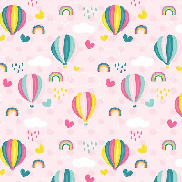 Balão de ar quente rosa Vetor Premium