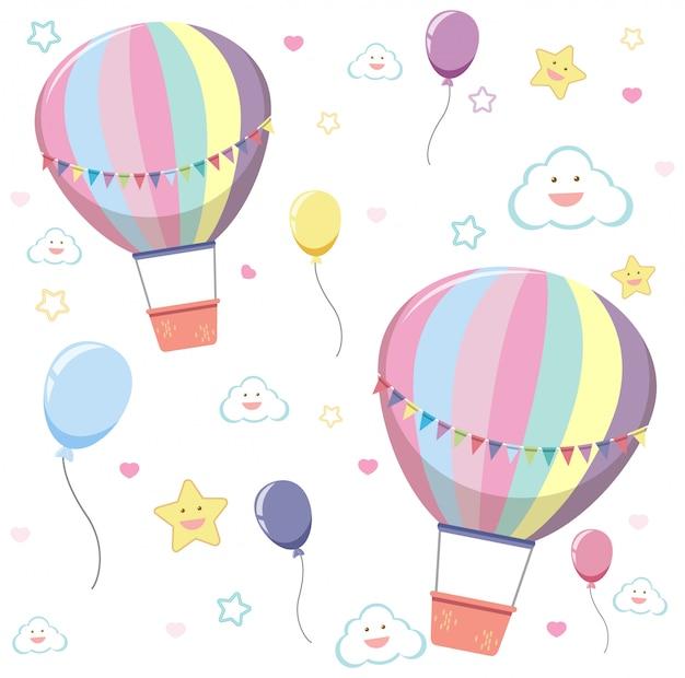 Balão de ar quente sem costura com nuvem fofa e estrela em fundo branco Vetor Premium