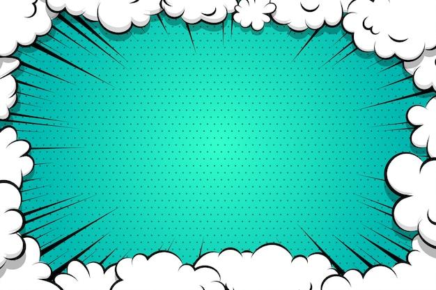 Balão de fala de nuvem de sopro de desenho em quadrinhos para texto cor azul Vetor Premium