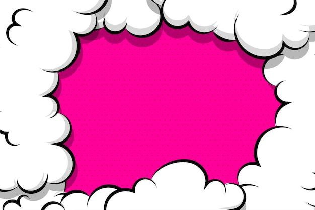 Balão de fala de nuvem de sopro de desenho em quadrinhos para texto cor-de-rosa Vetor Premium
