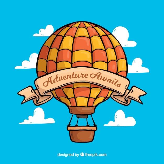 Balão de mão desenhada com estilo vintage Vetor grátis