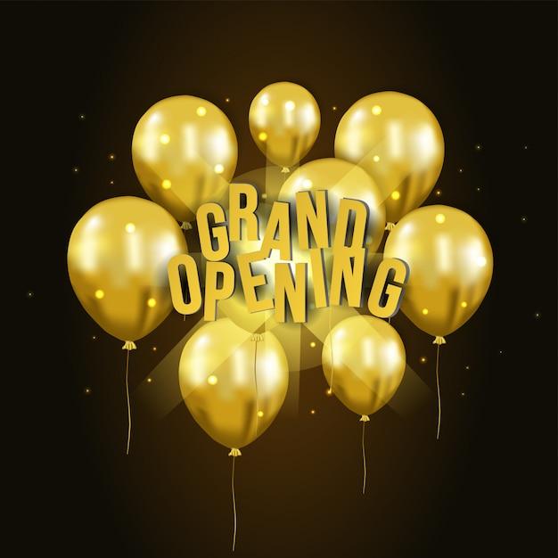 Balão de ouro 3d voando modelo de inauguração Vetor Premium
