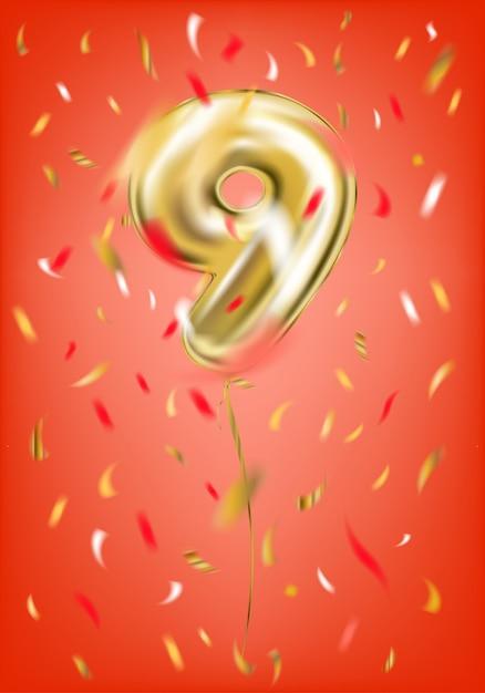 Balão de ouro festivo nove dígitos e confetes de folha Vetor Premium