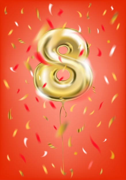 Balão de ouro festivo oito dígitos e confetes de folha Vetor Premium
