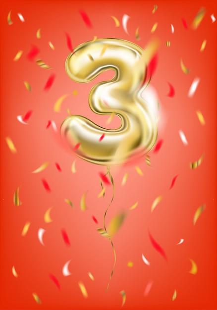 Balão de ouro festivo zero dígito e confete de folha Vetor Premium