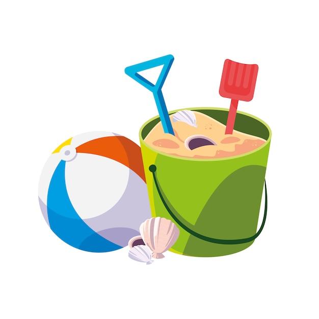 Balão de praia de areia com areia balde e pás Vetor Premium