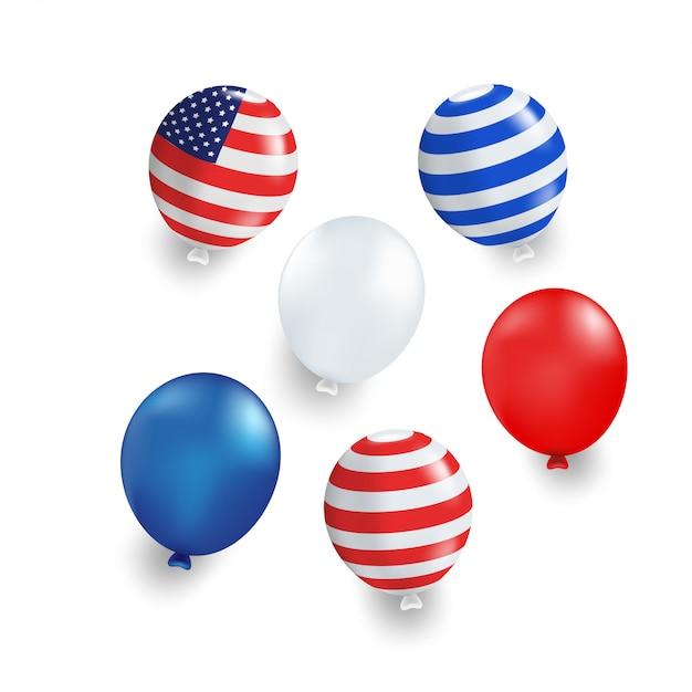 Balão de várias cores com azul, vermelho, eua bandeira listrada em fundo branco. isolado. Vetor Premium