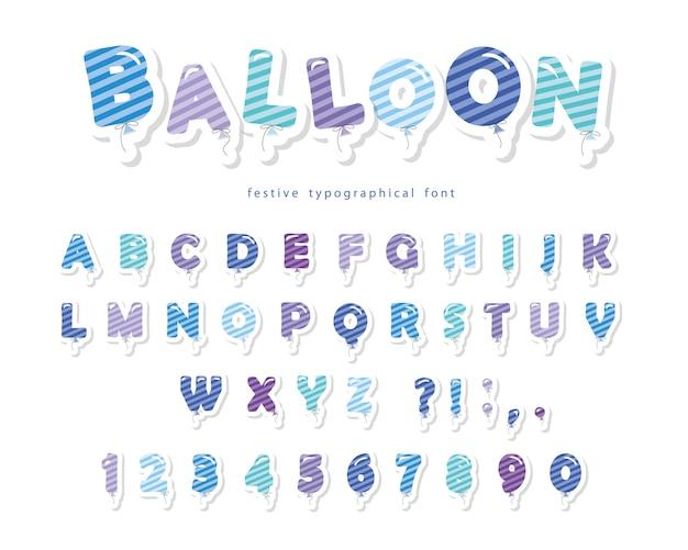 Balão despojado tipografia alfabeto fonte azul com letras e números Vetor Premium