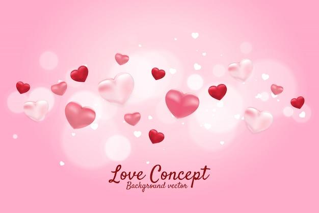 Balão do coração 3d que voa o conceito gráfico do fundo. dia dos namorados e tema de amor banner e cartaz Vetor Premium