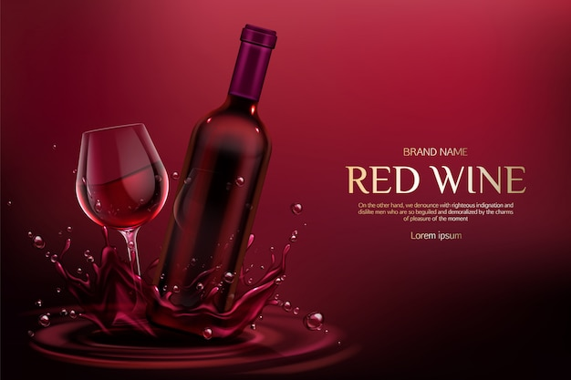 Balão em branco fechado e copo de vinho com bebida de videira de álcool em salpicos de líquido da borgonha e gotículas Vetor grátis