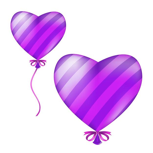 Balão listrado de forma de coração. ilustração de voar bola de ar violeta de hélio com fita e arco isolado em um fundo branco Vetor Premium