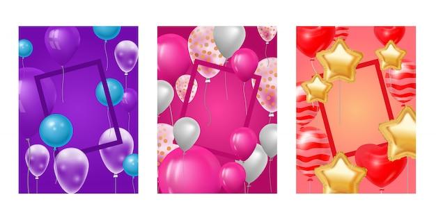 Balão quadro comemorando a festa de aniversário aniversário dos desenhos animados crianças feliz nascimento feriado decoração cenário festival balões decoração ilustração fundo Vetor Premium