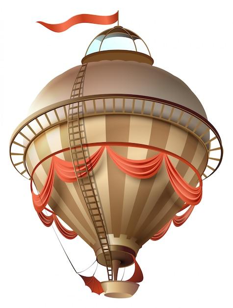 Balão retrô dirigível navio com bandeira isolada no branco Vetor Premium