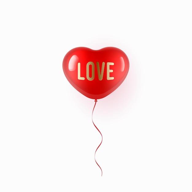 Balão vermelho voador em forma de coração sobre fundo branco Vetor Premium